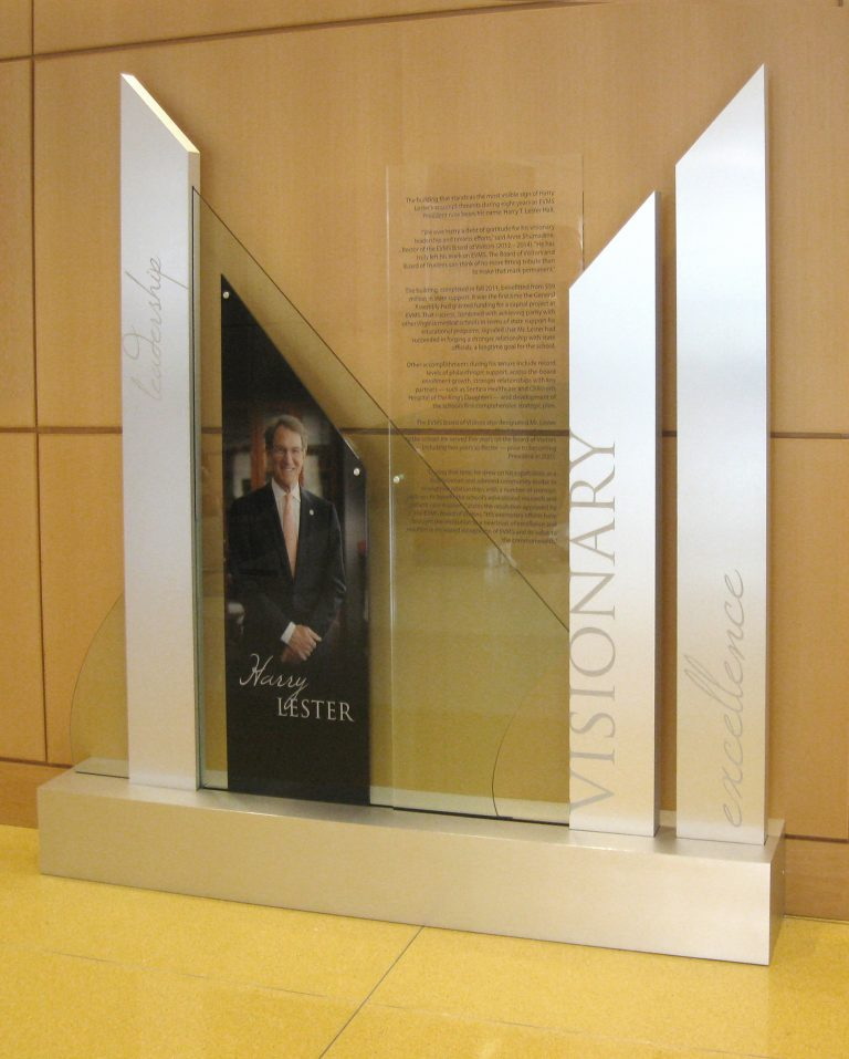freestanding glass donor wall