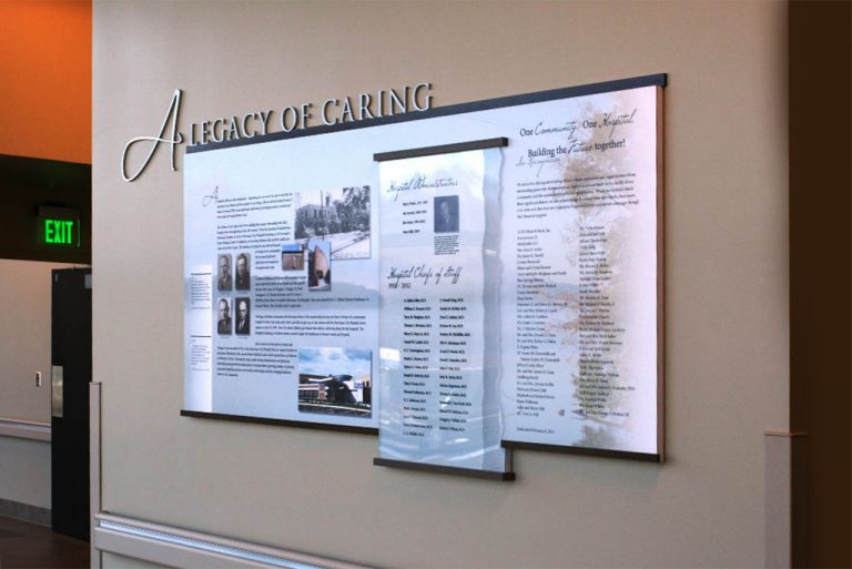 permanent history wall with staff recognition