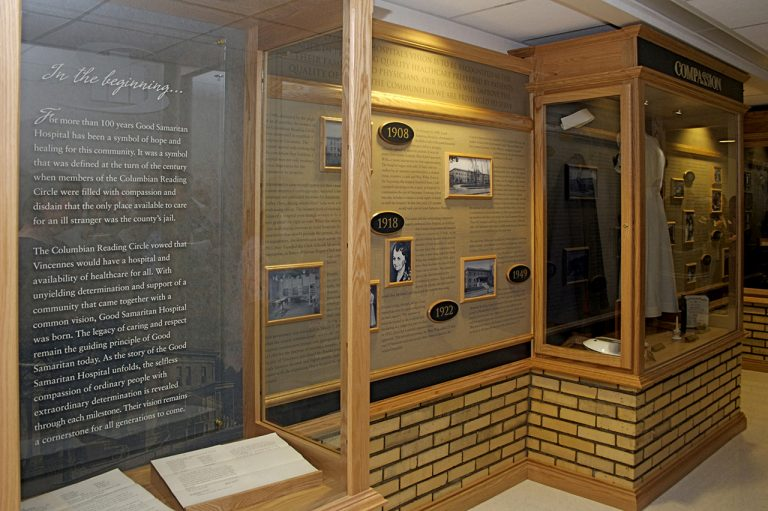 permanent history display with display cases