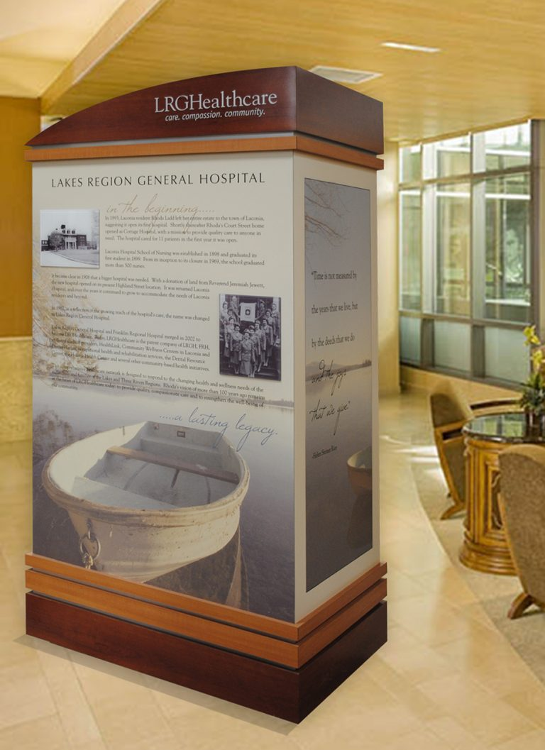 freestanding history display