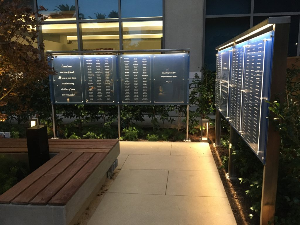 memorial donors lit with LED lights
